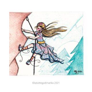 disegno arrampicata ragazza che arrampica